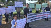 Concursados para vaga de assistente judiciário cobraram contratação em protesto no TJAM (Foto: ATUAL)