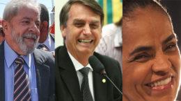 Lula, Jair Bolsonaro e Marina Silva registram menos rejeição, segundo dados do Barômetro Político (Foto: Facebook/Reprodução)