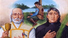 Mártires de Uruaçu e Cunhaú. Padre André de Soveral e o camponês Ambrósio Francisco Ferro (ilustração de Mateus Moreira/Divulgação)