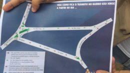Mapa indica o sentido do trânsito no trecho entre o Cigs e o cruzamento das avenidas Darcy Vargas e Jacira Reis (Foto: Divulgação)