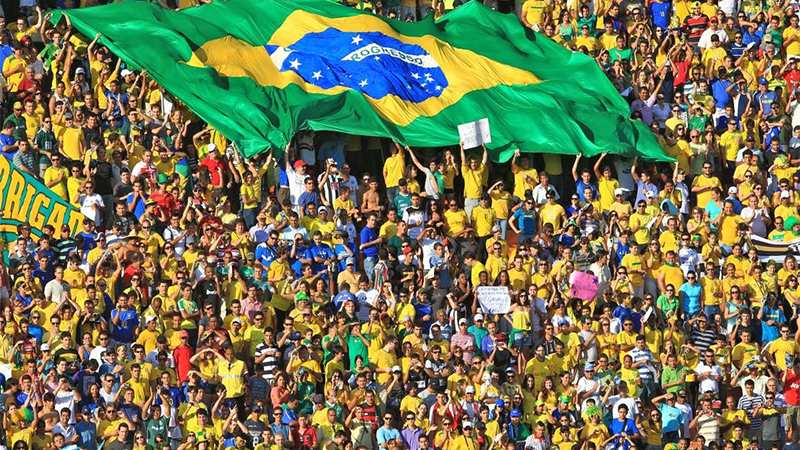 Torcida brasileira lotou o Allianz Parque, que registrou recorde de público no futebol brasileiro (Foto: Reprodução/TV Globo)