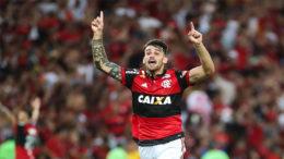Felipe Vizeu marcou o gol da vitória flamenguista sore adversário colomiano na semifinal da Copa Sul-Americana (Foto: Gilvan de Souza/Flamengo)