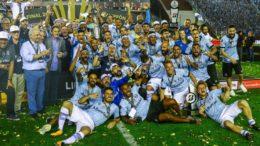 Grêmio é tricampeão da Libertadores. Conquista foi com vitória sobre o Lanús, da Argentina (Foto: Lucas Uebel/Grêmio/Divulgação)