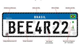 Placa de carros padrão no Mercosul também será adotada no Brasil (Foto: Divulgação)