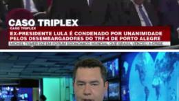 Bandnews anunciou condenação de Lula em tarja e depois corrigiu o erro (Foto: Bandnews/Reprodução)