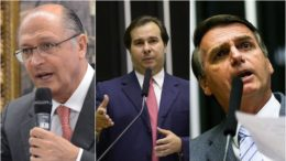 Geraldo Alckmin e Rodrigo Maia têm discurso diplomático e Jair Bolsonaro adotou o enfrentamento em relação a Lula (Fotos: Agencia Câmara)
