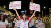Mulheres exibiram cartazes e frases em camisetas contra o assédio sexual (Foto: Sejusc/Divulgação)