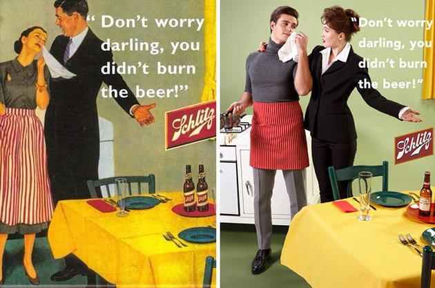 O artista que transformou anúncios machistas do século 20 em um manifesto feminista