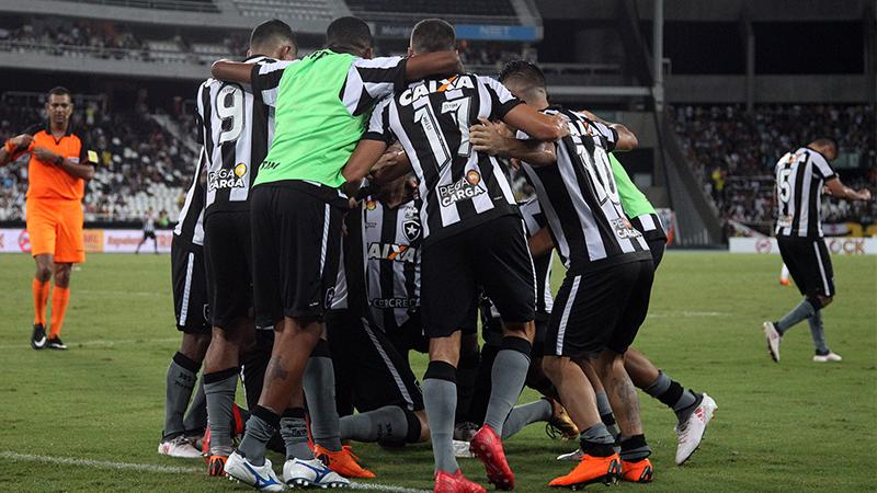 Jogadores do Botafogo festejaram o triunfo e a classificação na semifinal do Carioca (Foto: Botafogo/Divulgação)