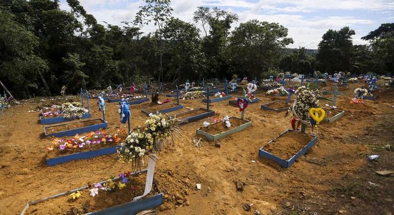 Sepulturas de presos chacinados no Compaj em janeiro de 2017. Manaus é a 11ª cidade mais violenta do País (Foto: Marcelo Camargo/ABr)
