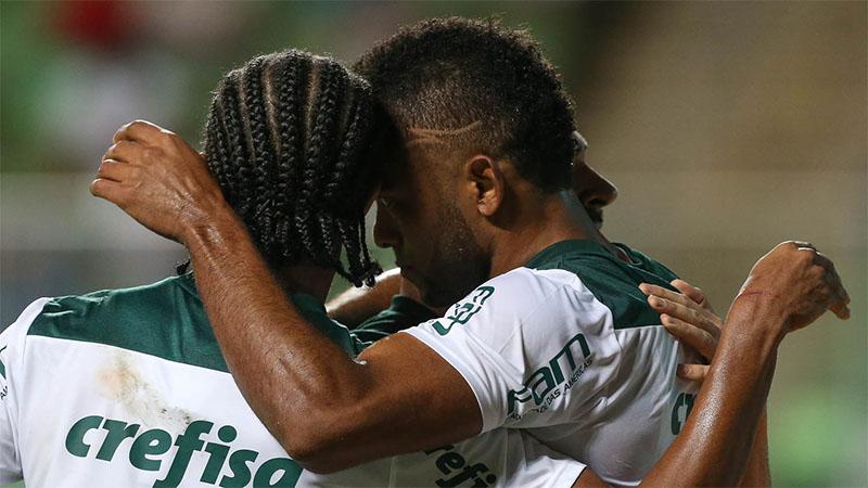 Jogadores do Palmeiras se confraternizam com segundo gol que garantiu vitória e vantagem na Copa do Brasil (Foto: Cesar Greco/Palmeiras/Divulgação)