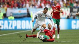 Cristiano marcou um gol aos quatro minutos do primeiro tempo e garantiu a vitória de Portugal contra o Marrocos (Foto: Fifa/Divulgação)