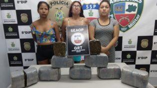 Três mulheres são presas com 8 quilos de maconha em Manaus