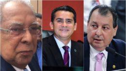 Amazonino estaria no segundo turno, segundo dados da Pesquisa 365. David Almeida e Omar Aziz disputariam a outra vaga (Fotos: ATUAL e Ag. Senado)