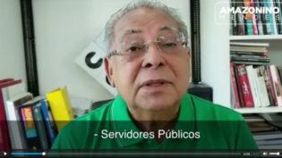 Amazonino grava vídeo sobre pagamento do 13º salário sem símbolos do governo