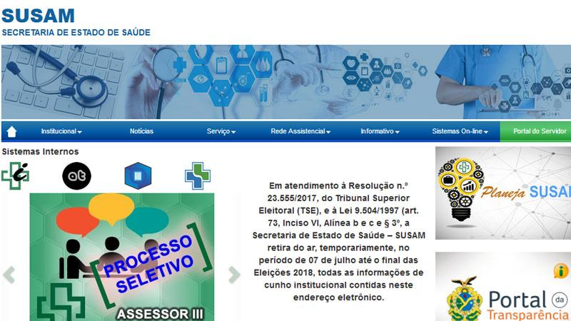 Susam manteve site no ar, mas restringiu acesso a serviços de saúde (Foto: Reprodução)