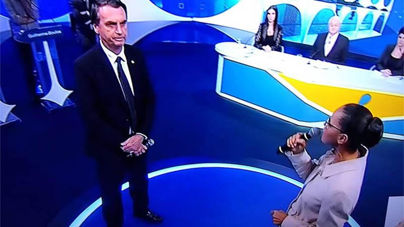 Jair olsonaro foi confrontado por Marina Silva em temas sensíveis ao programa de governo do candidato (Foto: Rede TV/Reprodução)