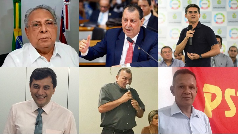 Disputa para governador do Amazonas envolve Amazonino Mendes, Omar Aziz, David Almeida, Wilson Lima, Nindberge Barbosa e Sidney Cabral (Foto: Atual/Divulgação)