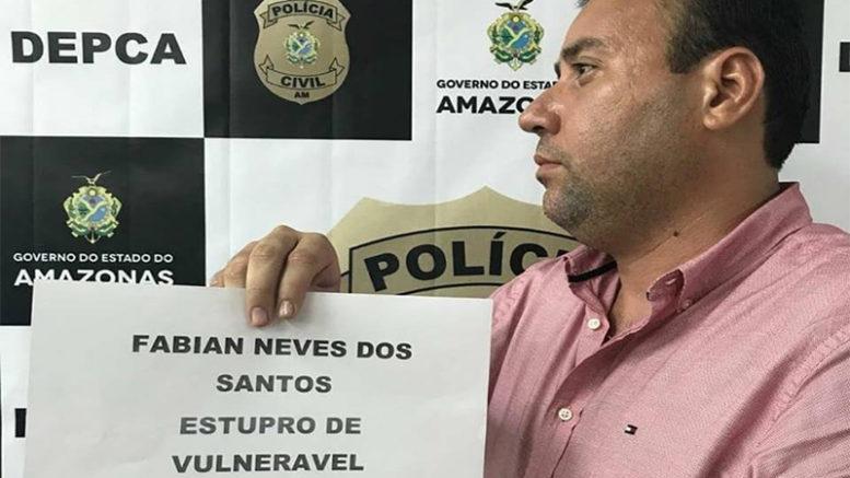 Fabian Neves dos Santos é acusado de estupro de vulnerável ao ser preso com criança em motel (Foto: PC-AM/Divulgação)