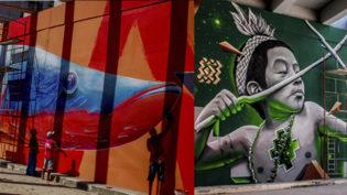 Grafite com temática amazônica enfeita Avenida das Flores