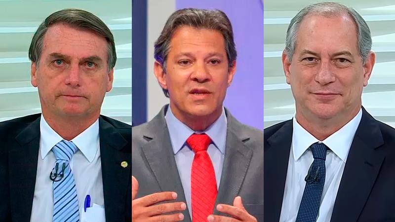 Jair Bolsonaro, Fernando Haddad, Ciro Gomes