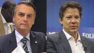 Em alta, Bolsonaro tem 39% dos votos válidos e Haddad, 25%, diz Datafolha