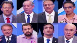Oito candidatos à Presidência da República participaram de um debate nesse domingo (Foto: TV Record/Reprodução)