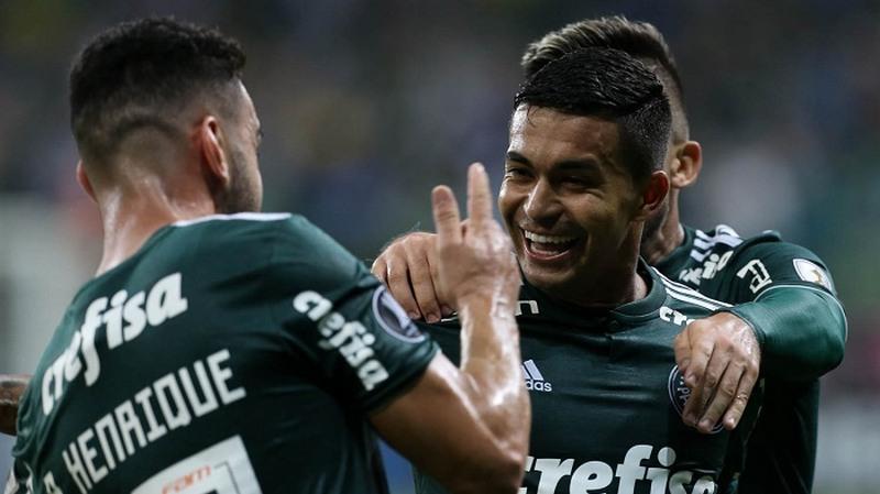 Dudu marcou golaço e abriu o placar para a vitória do Palmeiras na Libertadores (Foto: Cesar Greco/Ag. Palmeiras)
