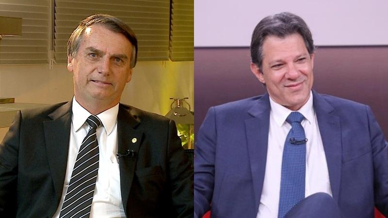Em pesquisa IBOPE, Jair Bolsonaro possui 32% das intensões de voto, enquanto Fernando Haddad tem 23% (Foto: Divulgação)