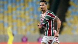 Luciano marcou o gol da vitória e classificação do Fluminense na Sul-Americana (Foto: Lucas Mer;con/Fluminense)
