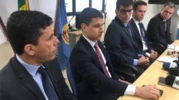 Procuradores e delegados federais na coletiva da Operação Cashback: nova fase da Maus Caminhos e pressão sob o TCE (Foto: ATUAL)