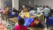 Pacientes em salão do Hospital 28 de Agosto: instalações inadequadas e risco de infecção hospitalar (Foto: Facebook/Reprodução)