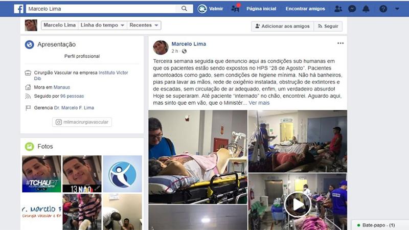 Em sua página no Facebook, médico Marcelo Lima expõe situação de caos no Hospital 28 de Agosto (Foto: Reprodução/Faceook)