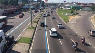 Corredor da Faixa Azul volta a ser exclusivo para ônibus em Manaus