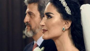 Cristiane Machado no dia do casamento com o empresário Sergio Thompson-Flores: vida de violência doméstica (Foto: TV Globo/Reprodução)
