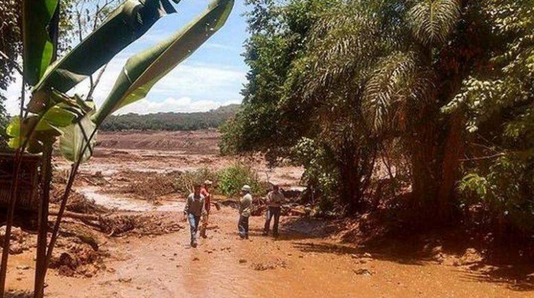 Lama atingiu casas e áreas verdes em Brumadinho, Minas Gerais, após rompimento de barragem (Foto: Corpo de Bombeiros/Divulgação)
