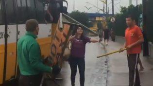 Em Manaus, motorista quebra para-brisa de ônibus em briga de trânsito