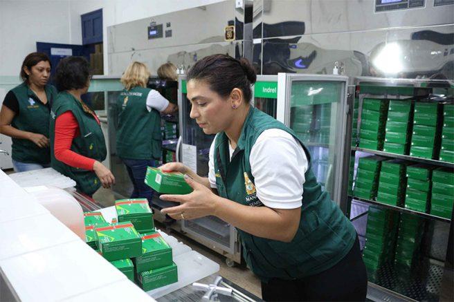 Doses de vacina começam a ser distribuídas na capital e para o interior (Foto: Nathalie rasil/Semcom)