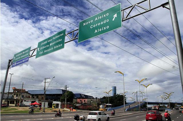 Placas se sinalização em Manaus: campanha de doação (Foto: Altemar Alcântara/Semcom)