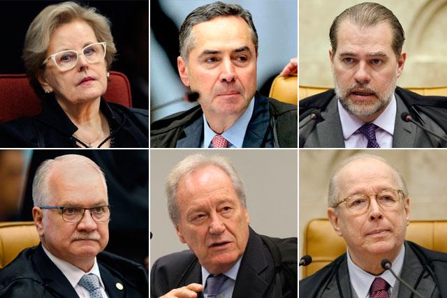 Rosa Weber, Luís Roberto Barroso, Dias Toffoli, Edson Fachin, Ricardo Lewandowski e Celso de Mello