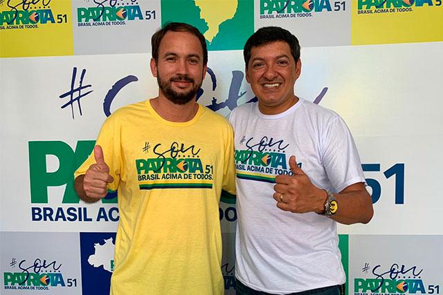 Jamys Castelo Branco, presidente municipal, e Felipe Souza, presidente estadual do Patriotas