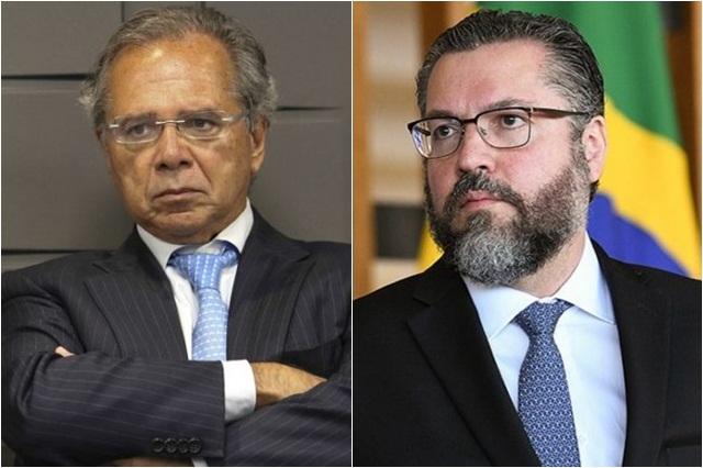 Paulo Guedes e Ernesto Araújo em lados opostos (Fotos: Fabio Pozzebom/ABr e Agência Senado)