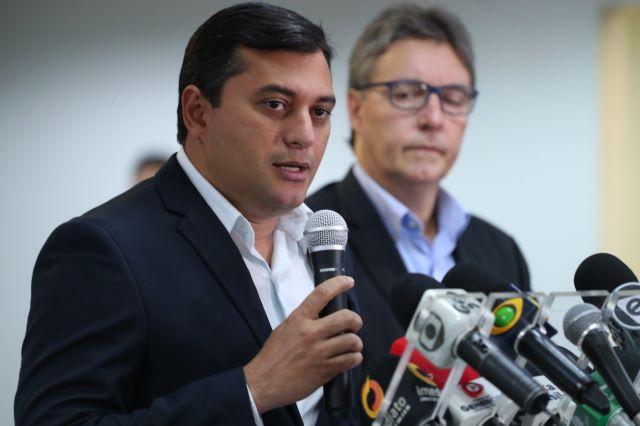 Governador Wilson Lima e o secretário da Seduc, Luiz Castro