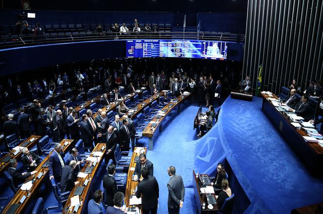 Vista interna do plenário do Senado Federal, em Brasília (DF)