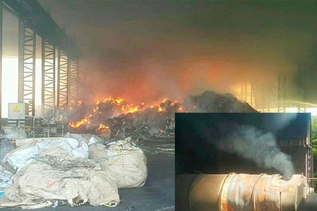 usina de reciclagem incêndio