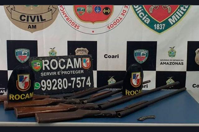 Armas apreendidas em Coari
