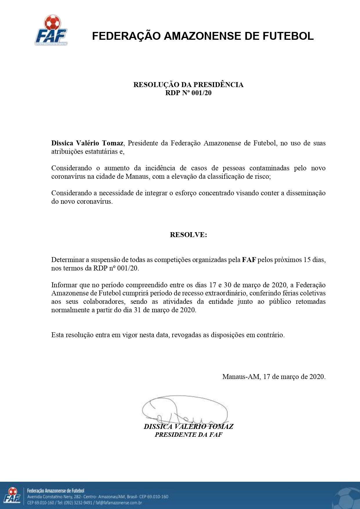 Federação Amazonense de Futebol suspende jogos do Campeonato Amazonense (Foto: Reprodução)