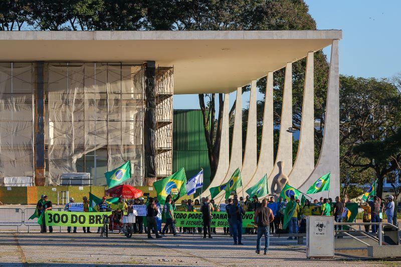 Manifestação em favor de Bolsonaro