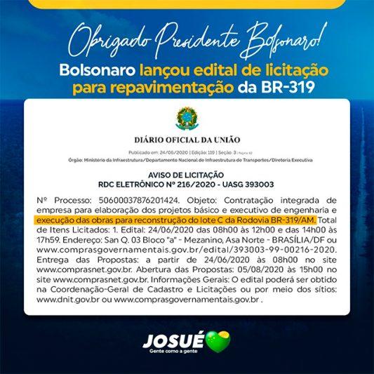 Banner Josué para Bolsonaro