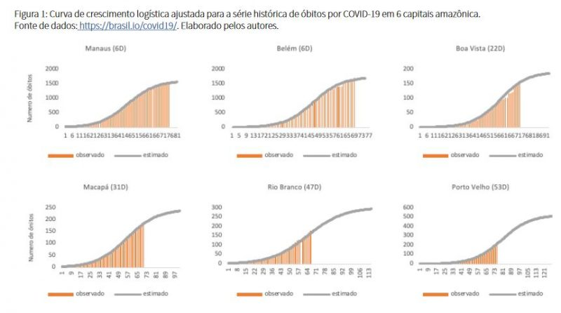 curva de mortes covid capitais norte
